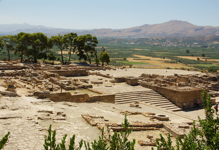 archetype: Ruins of a Minoan palace of civilization in phaistos peak. Stock Photo