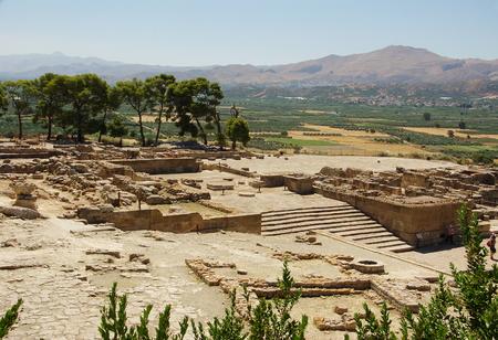 minoan: Ruins of a Minoan palace of civilization in phaistos peak. Stock Photo