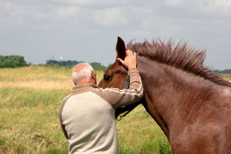 caresses: Love of horses by a former jockey.Souvenirs memories ... Stock Photo