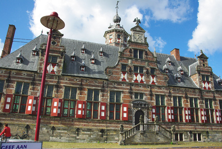red shutters: Htel city of Middelburg in Holland