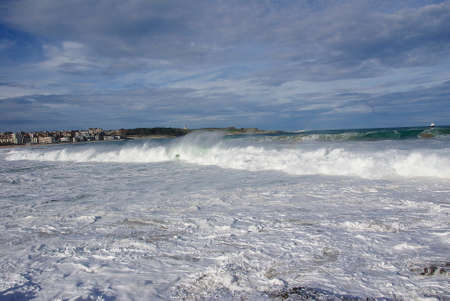 odds: Waves on the coast nearly Santander in the Basque Country in Spain Stock Photo