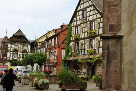 alsace: Village of Kaysersberg vineyards in Alsace
