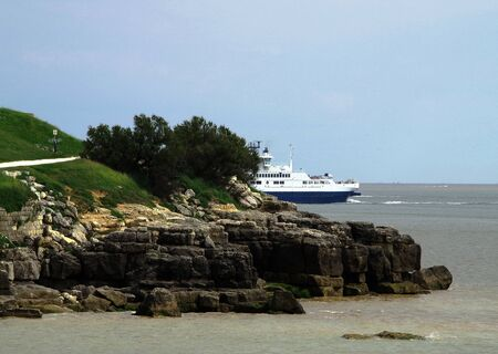 odds: Ferry across the Gironde enters the harbor of Royan