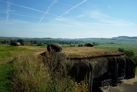 the ardennes: Ardennes countryside and blockhouses of the Maginot Line