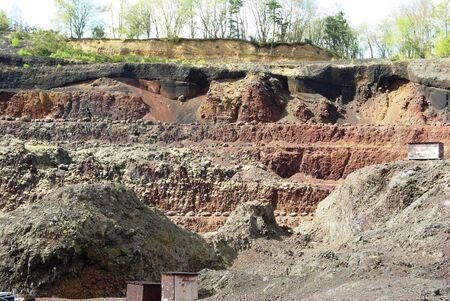 labourers: pozzolan mine in a volcano in Auvergne Stock Photo