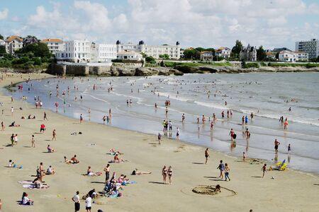 Beach in summer in Royan Editorial