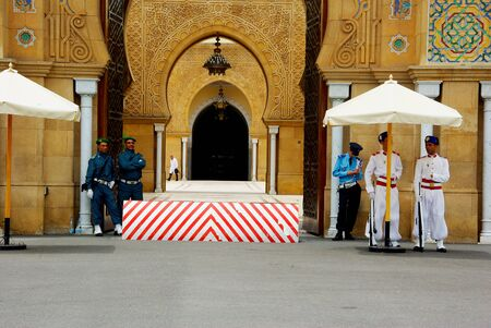 Entrance of the Moroccan royal palace with the guards Editorial
