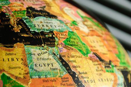 Porción del globo colorido Centrado en el Medio Oriente