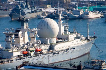 tug boat: Port of Vladivostok. Golden Horn Bay. Floating radar. Editorial