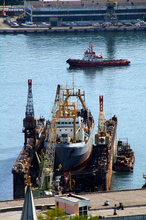 Port of Vladivostok. Golden Horn Bay. Floating dock.