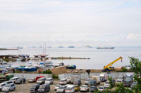 Vladivostok. Amur Bay. Boats against the detachment of warships PF and educational sailing vessel Nadezhda.