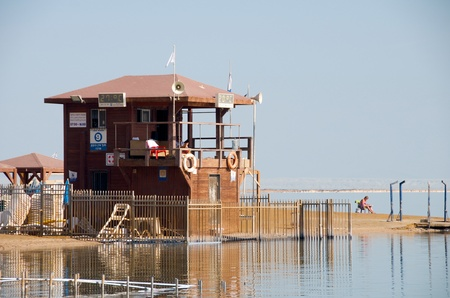 lifeboat station: Lifeboat station on the shore of the Dead Sea. Israel.