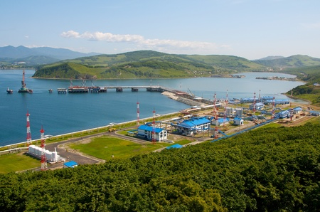 Oil transfer station and mooring buoy of the new terminal under construction in the Bay of Kozmino Primorsky Krai.