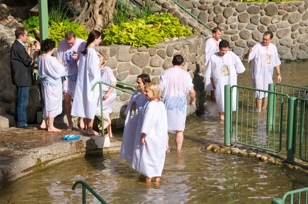 Israel, the rite of baptism. Place of Baptism - Jordan, the Jordan River.