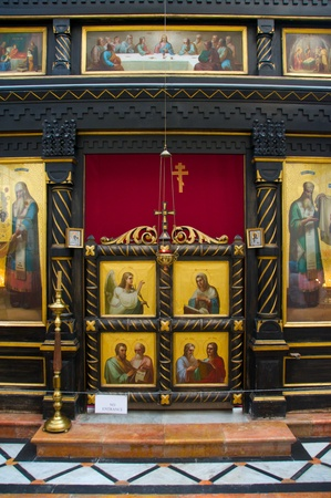 iconostasis: Church of Alexander Nevsky. Fragment of carved wooden iconostasis Dip.