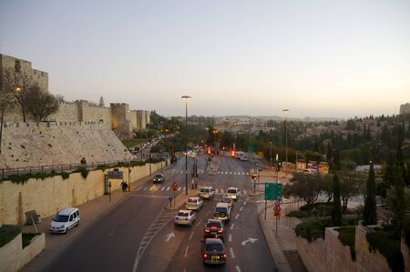 Jerusalem. Old town. The road between the city wall and the valley of Gehenna.