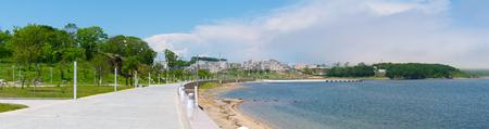 ajax: FEFU campus on the island of Russian  The beach area in Ajax Bay  Panorama  Editorial