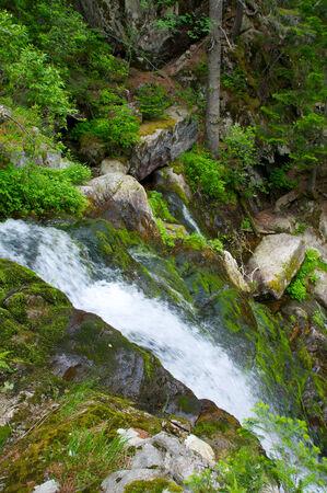 ussuri: Russia. Sikhote-Alin. Bald mountain spurs. Alexis waterfall in the upper river Padyushki.
