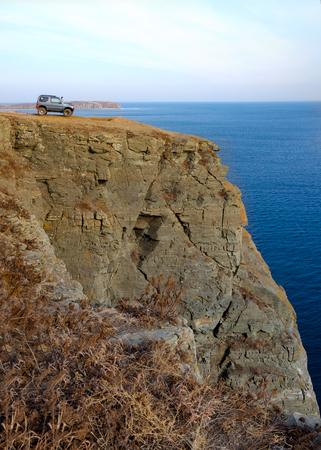 headland: Tobizina Peninsula. Jeep on the headland.