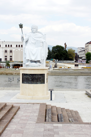 justinian: Statue of Justinian I - famous Byzantine Emperor in Skopje, Macedonia