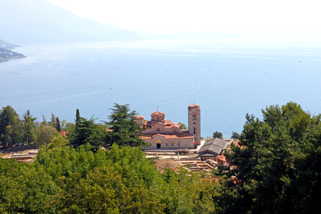 attributed: View of Saint Panteleimon Monastery in Ohrid, Republic of Macedonia situated on Plaosnik. It is attributed to Clement of Ohrid. The Ohrid Lake is in the background. Stock Photo