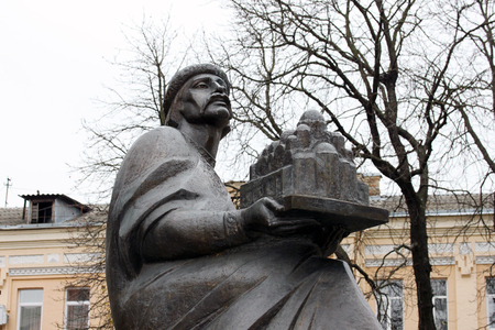 rus: Statue of Yaroslav the Wise, Grand Prince of Kievan Rus holding Saint Sofia Cathedral in his hands in the center of Kyiv, Ukraine