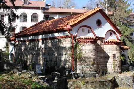 The Holy Mother of God of Vitosha Church in Dragalevtsi monastery close to Sofia, Bulgaria. Stock Photo