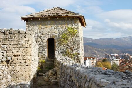 serbian: A watchtower and walls of the medieval fortress (Momchilos fortress) in Pirot, Serbia