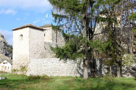 serbia landscape: Medieval Fortress Tower and Walls in Pirot, Bulgaria