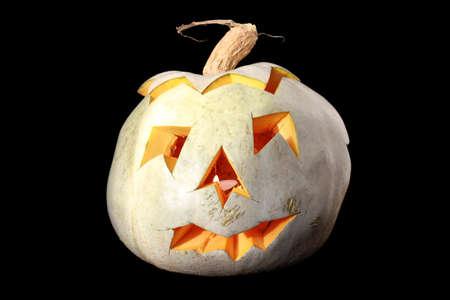 pumkin: Halloween carved pumkin isolated on black background