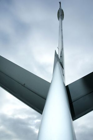 aileron: Airplane rudder and tail wing Stock Photo