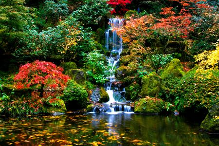 Small waterfall in a japanese garden Stock Photo