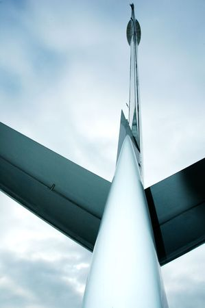 aileron: Rudder and tail wing section on an airplane overhead
