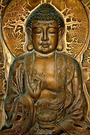 Carving of a Buddha of the lotus blessing