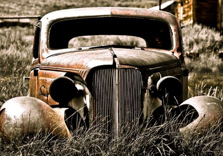 abandoned car: Objects in various stages of decay and aging, abandoned and forgotten - abandoned car.