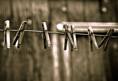 clothespins: Objects in various stages of decay and aging, abandoned and forgotten - clothespins.