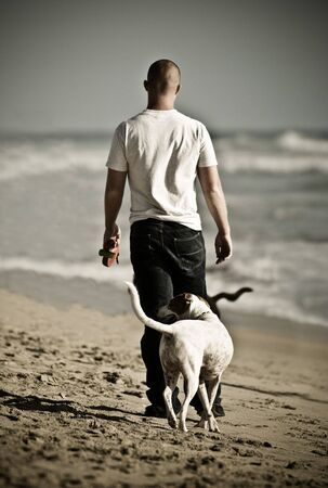 A dog and his owner moment photo