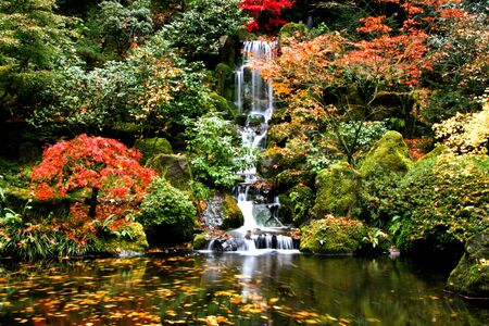 A small waterfall in a Japanese garden in Fall Stock Photo