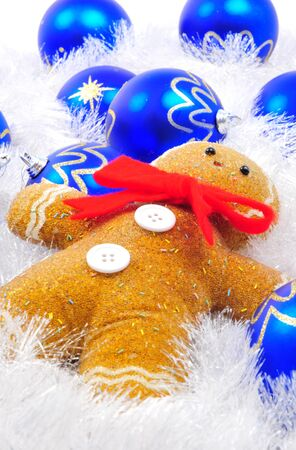 Gingerbread man posed for christams decoration photographed in a studio setting