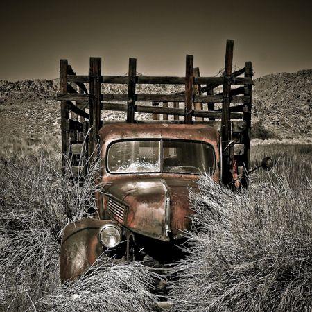 Retired farm truck in a field outside Benton Hot Springs, California