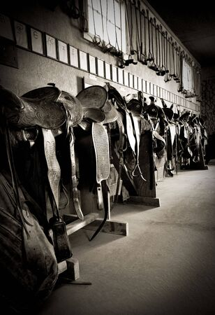 Saddles and brands on a ranch Stock Photo
