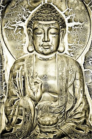 Buddha plate in gold, black and green Stock Photo