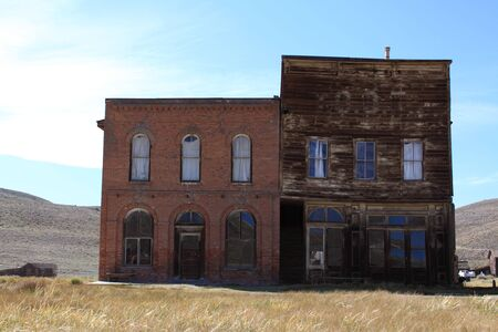 broken hill: Saloon and Boot Barn in a ghost town of Northern California Stock Photo