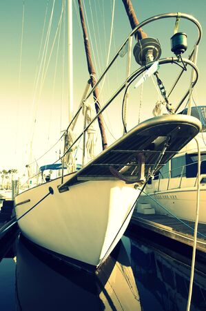 The bow of a docked sailing yacht. Stock Photo - 8911945