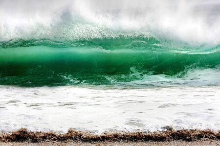 rolling wave caught at The Wedge, Newport Beach, California