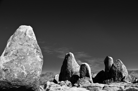 Sections of rocks in the Alabama Hills of California, paired up with a dark sky. Stock Photo - 11505772