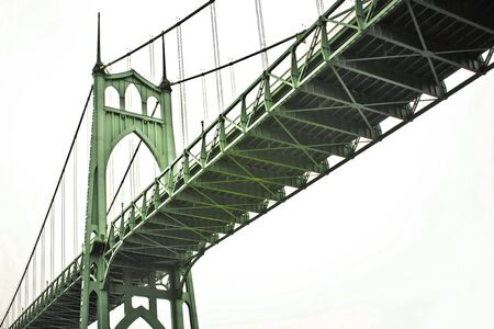 St. Johns Bridge spanning the width of the Columbia River in Oregon. Stock Photo