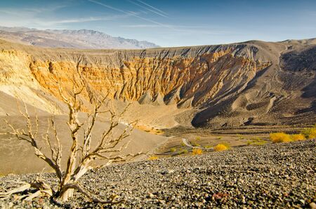 Low angle view down the side of the Ubehebe Crater of Death Valley, California. photo