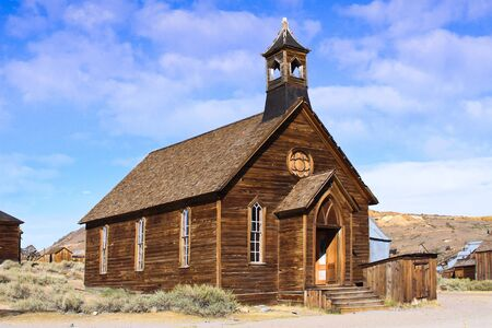 An old wooden church located in an old west ghost town.