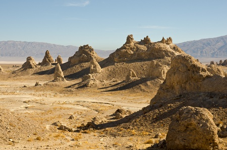 One of the many towering rock features of the Trona Pinnacles area. Stock Photo